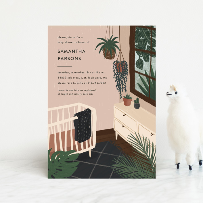 """""""Baby Jungalow"""" - Whimsical & Funny Baby Shower Postcards in Terracotta by Ekko Studio."""