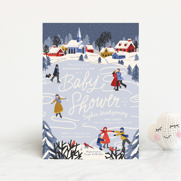 """Winter Skate"" - Whimsical & Funny Baby Shower Postcards in Primary by Meggy Masters."