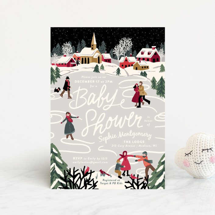 """""""Winter Skate"""" - Whimsical & Funny Baby Shower Postcards in Midnight by Meggy Masters."""
