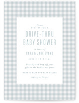 This is a blue baby shower postcard by Lea Delaveris called Charming with standard printing on signature in postcard.