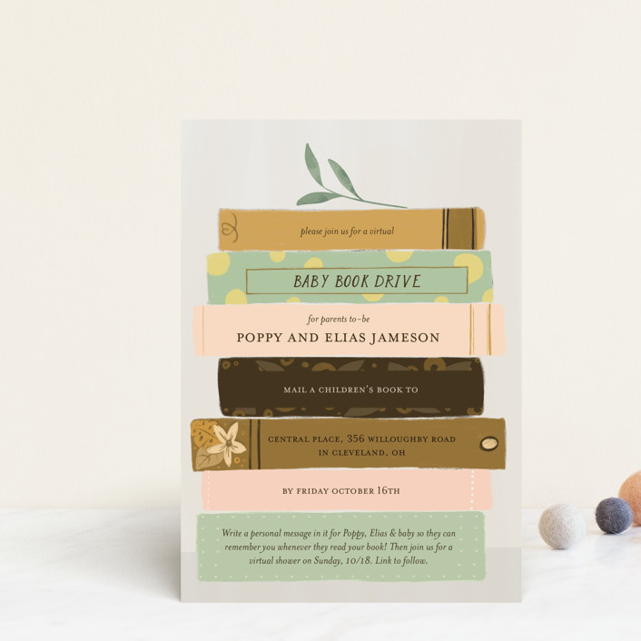 """""""Book Lovers"""" - Baby Shower Postcards in Mustard by Lottie Made Co."""