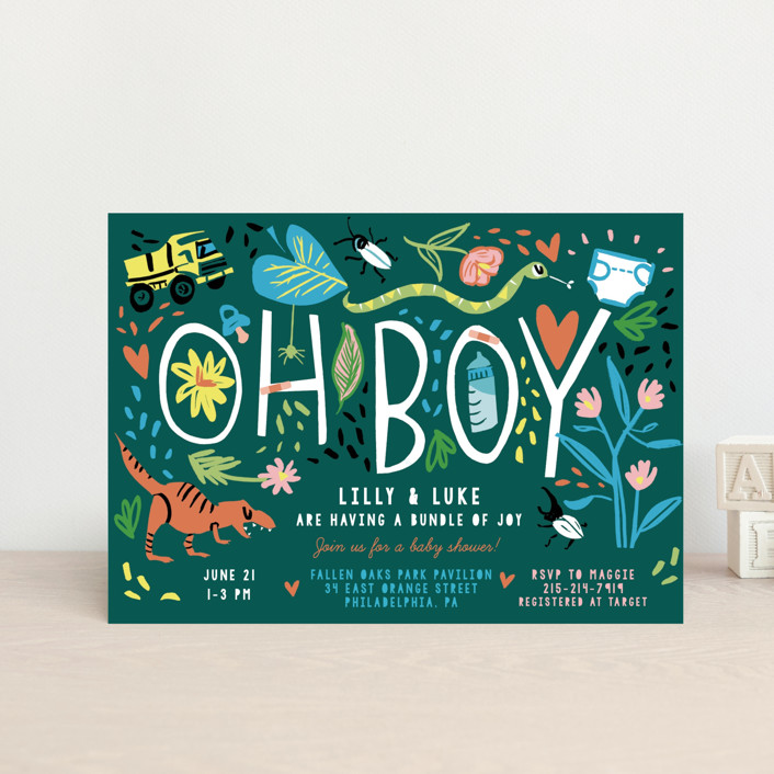 """""""Oh Boy!"""" - Whimsical & Funny Baby Shower Postcards in Emerald by Michelle Shanaman."""