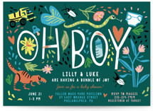 This is a green baby shower postcard by Michelle Shanaman called Oh Boy! with standard printing on signature in postcard.