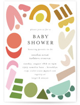 This is a colorful baby shower postcard by Morgan Kendall called Rainbow Shapes with standard printing on signature in postcard.