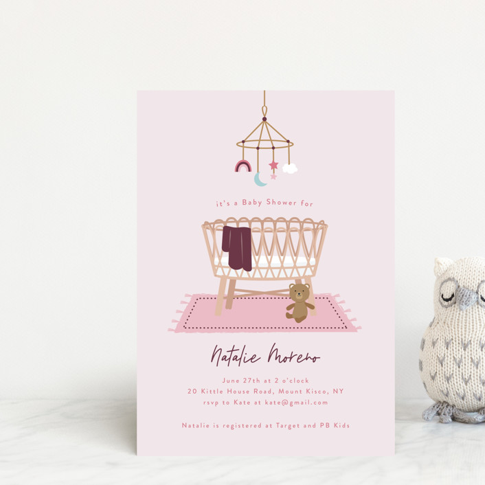 """""""Boho Bassinet"""" - Whimsical & Funny Baby Shower Postcards in Creamsicle by Annie Holmquist."""