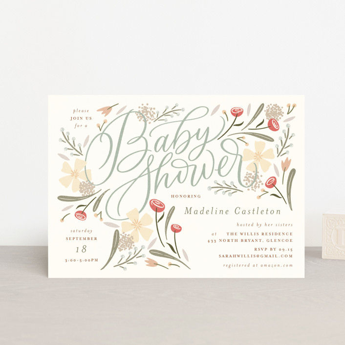 """""""Happy Florals"""" - Baby Shower Postcards in Daisy by Erin German."""