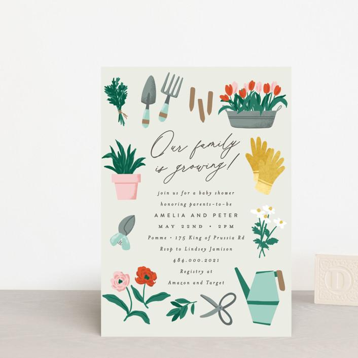 """Growing Garden"" - Baby Shower Postcards in Mint by Everett Paper Goods."