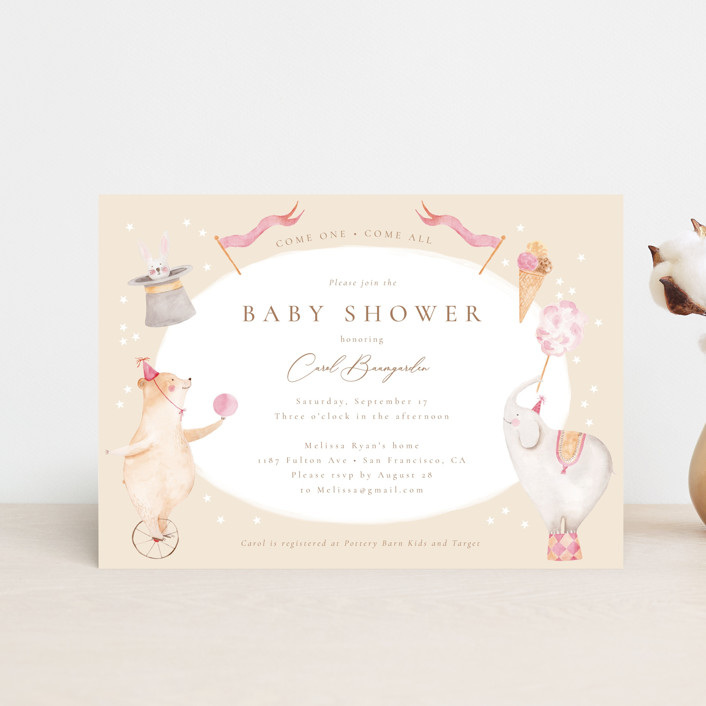 """""""Baby Circus"""" - Whimsical & Funny Baby Shower Postcards in Creme by frau brandt."""