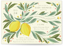 This is a yellow baby shower postcard by Joanna Griffin called Main Squeeze with standard printing on signature in postcard.