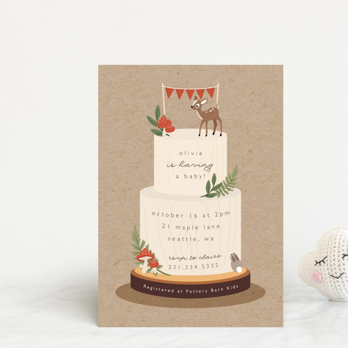 """""""Woodland"""" - Whimsical & Funny Baby Shower Postcards in Birch by Caitlin Considine."""