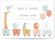 This is a colorful baby shower postcard by Sarah Knight called Drive by Baby with standard printing on signature in postcard.