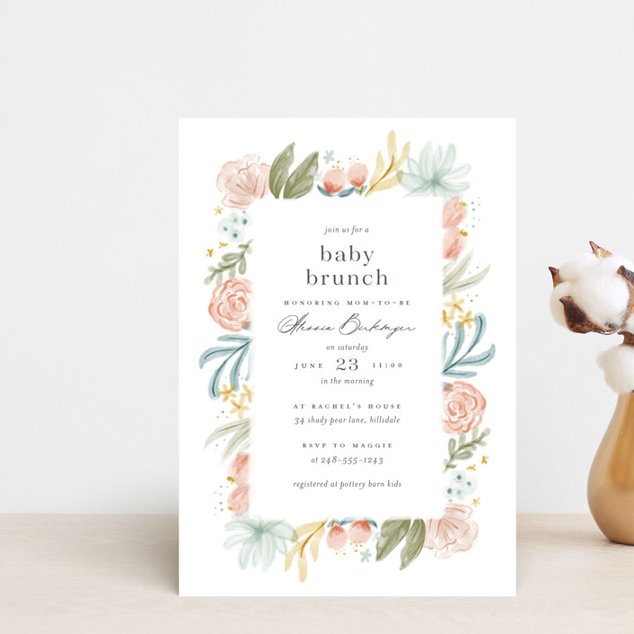 """""""Blooming Brunch"""" - Baby Shower Postcards in Rose by Ashley DeMeyere."""