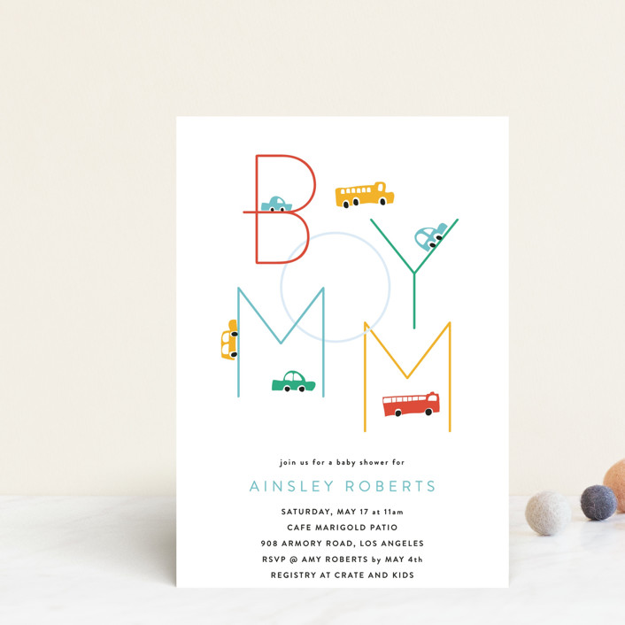 """""""Boy Mom"""" - Funny Baby Shower Postcards in Engine Red by Kimberly FitzSimons."""