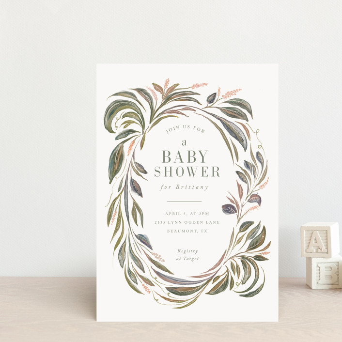 """""""Botanical Frame"""" - Baby Shower Postcards in Sage by Lucrecia."""