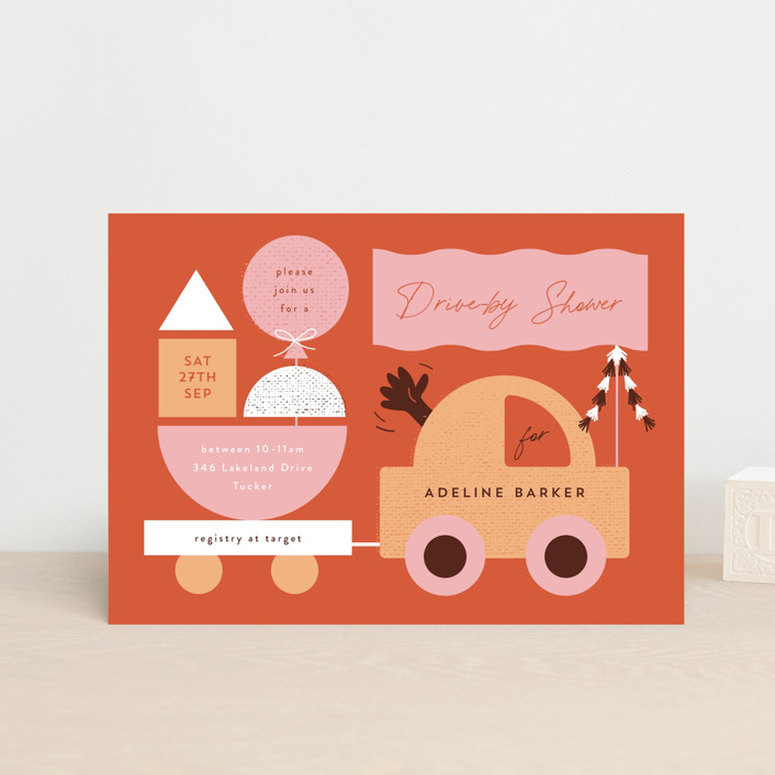 """""""Toy Car Parade"""" - Preppy Baby Shower Postcards in Gumdrops by Corinne Malesic."""