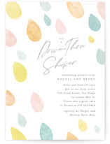 This is a yellow baby shower postcard by Creo Study called Raindrops with standard printing on signature in postcard.