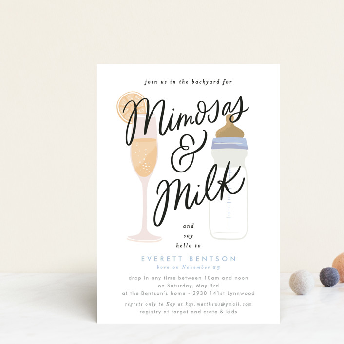 """""""Mimosas and Milk"""" - Whimsical & Funny Baby Shower Postcards in Sky by Alethea and Ruth."""