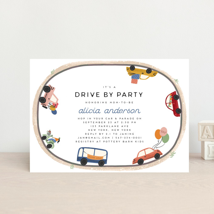 """""""Drive By Parade"""" - Whimsical & Funny Baby Shower Postcards in Fiesta by Grae."""