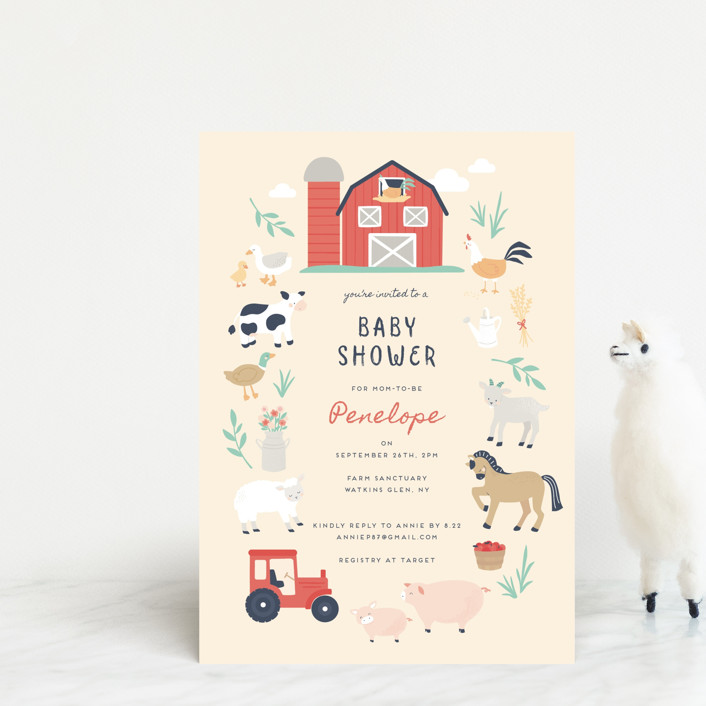 """""""barn baby"""" - Whimsical & Funny Baby Shower Postcards in Butter by peetie design."""