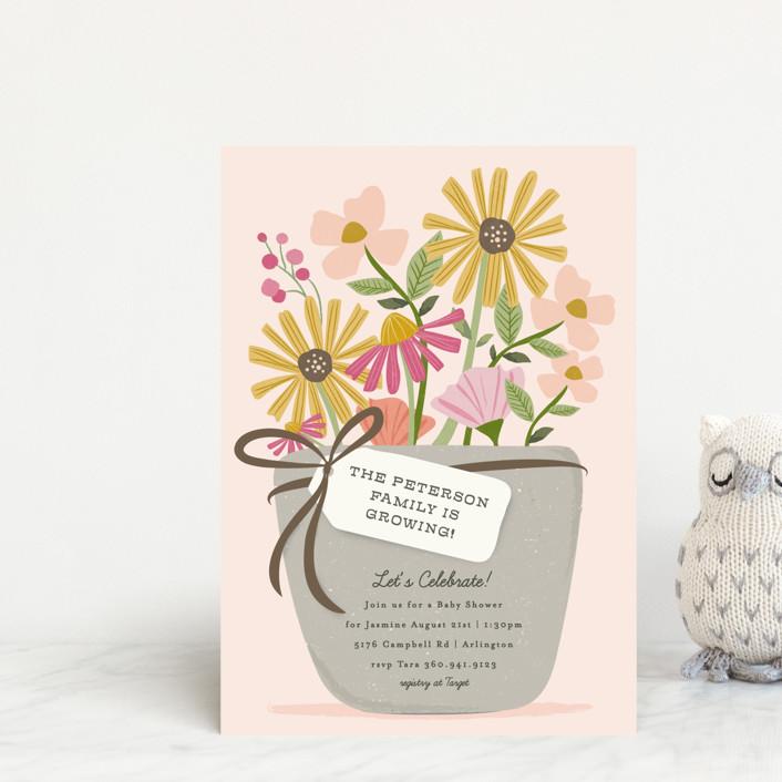 """growing flower pot"" - Baby Shower Postcards in Rose by Karidy Walker."