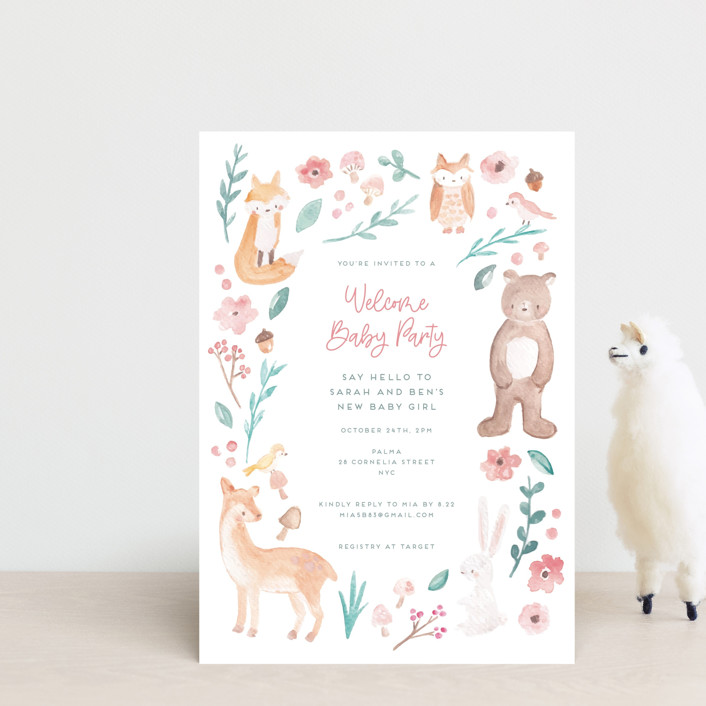 """""""garden baby"""" - Whimsical & Funny Baby Shower Postcards in Sage by peetie design."""