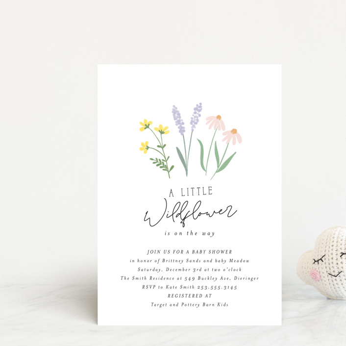 """""""She's a Wildflower"""" - Baby Shower Postcards in Pastel by Itsy Belle Studio."""