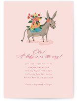 This is a pink baby shower postcard by Jackie Crawford called Ole baby Donkey with standard printing on signature in postcard.