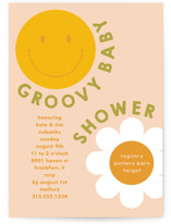 This is a pink baby shower postcard by Baumbirdy called Groovy Baby with standard printing on signature in postcard.