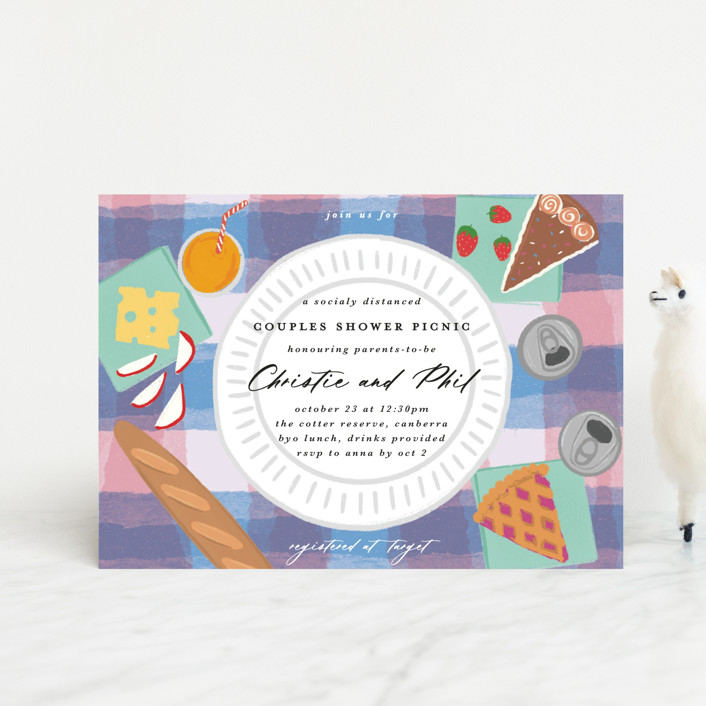 """""""Picnic Party"""" - Whimsical & Funny Baby Shower Postcards in Softly by Catherine Culvenor."""