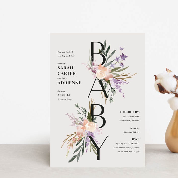 """""""Stacked Bouquets"""" - Baby Shower Postcards in Amethyst by Kate Ahn."""