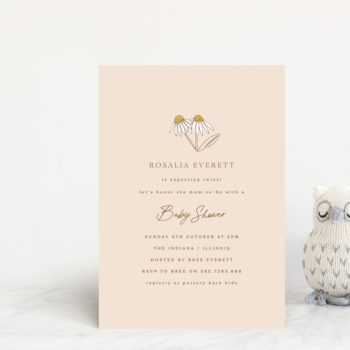 """""""Twin Daisy"""" - Baby Shower Postcards in Peach by Corinne Malesic."""