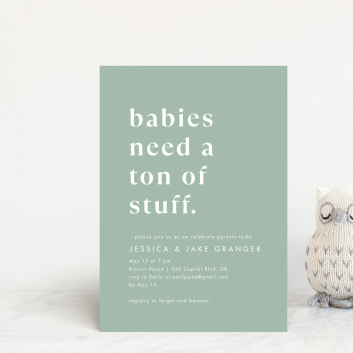 """""""Ton of Stuff"""" - Funny Baby Shower Postcards in Sage by Amy Payne."""