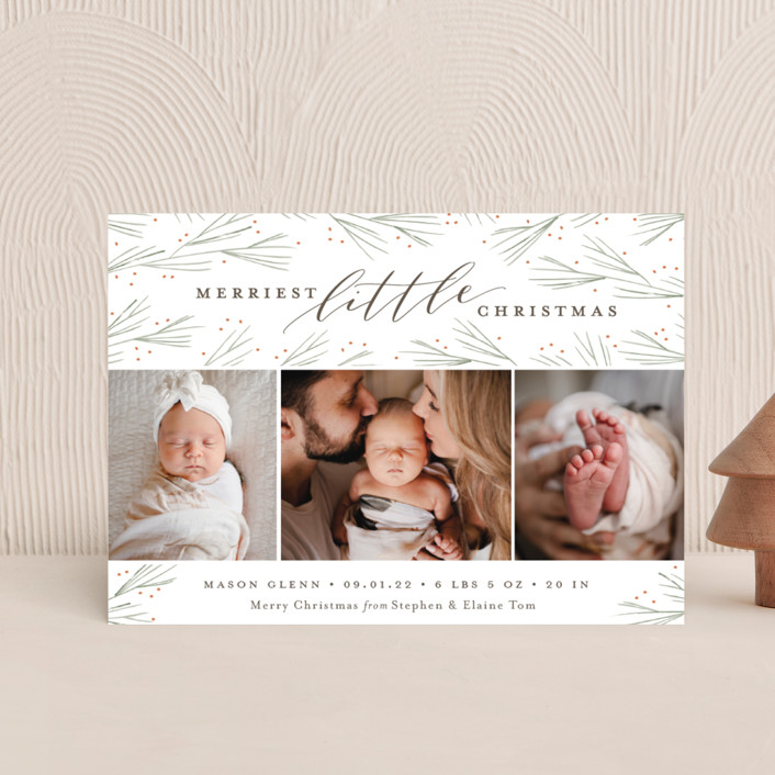 """""""Merriest Little Christmas"""" - Holiday Birth Announcement Postcards in Pine by Sarah Brown."""
