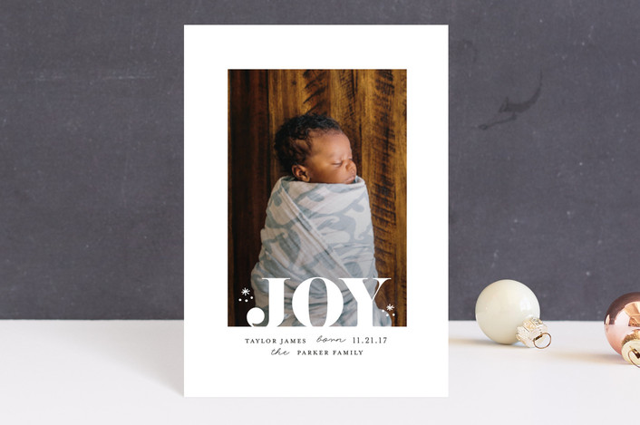 """Joy white space"" - Holiday Birth Announcement Postcards in Pearl by iamtanya."