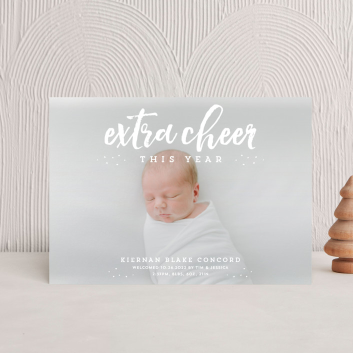"""Extra cheer this year"" - Holiday Birth Announcement Postcards in Snow by Lea Delaveris."