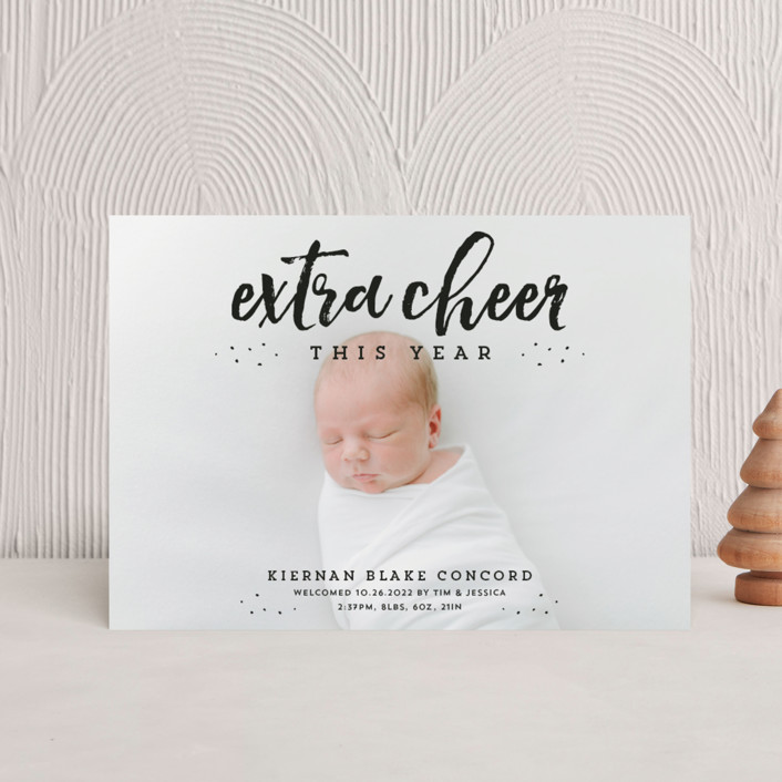 """Extra cheer this year"" - Holiday Birth Announcement Postcards in Ebony by Lea Delaveris."