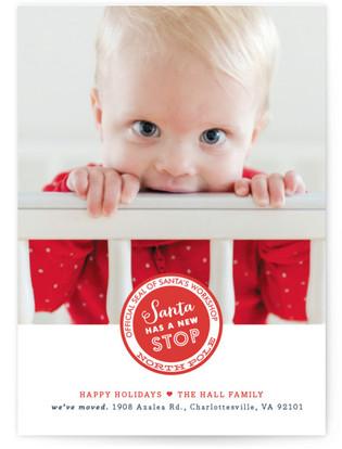 Santa Stop Holiday Birth Announcement Postcards