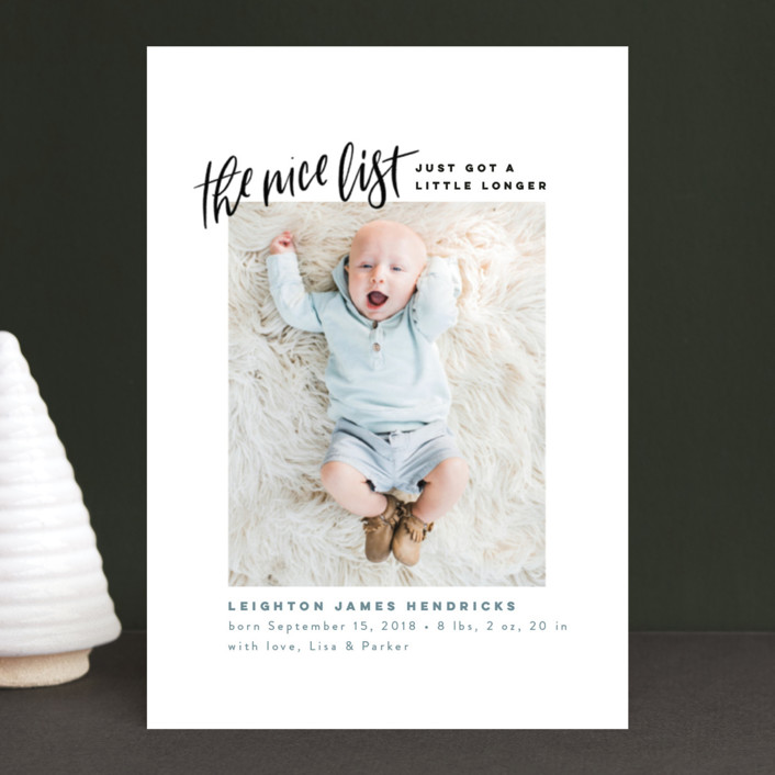 """Made the Nice List"" - Funny Holiday Birth Announcement Postcards in Snow by Pink House Press."