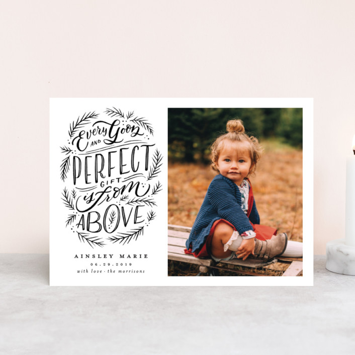 """""""Every Good Perfect Gift From Above"""" - Holiday Birth Announcement Postcards in Coal by Wildfield Paper Co.."""