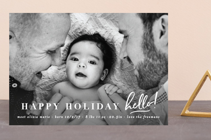 """holiday hello"" - Modern Holiday Birth Announcement Postcards in Reindeer by Michelle Poe."