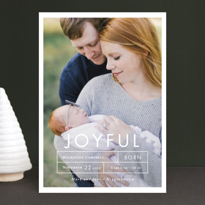 """More Joy"" - Holiday Birth Announcement Postcards in Snow by That Girl Press."