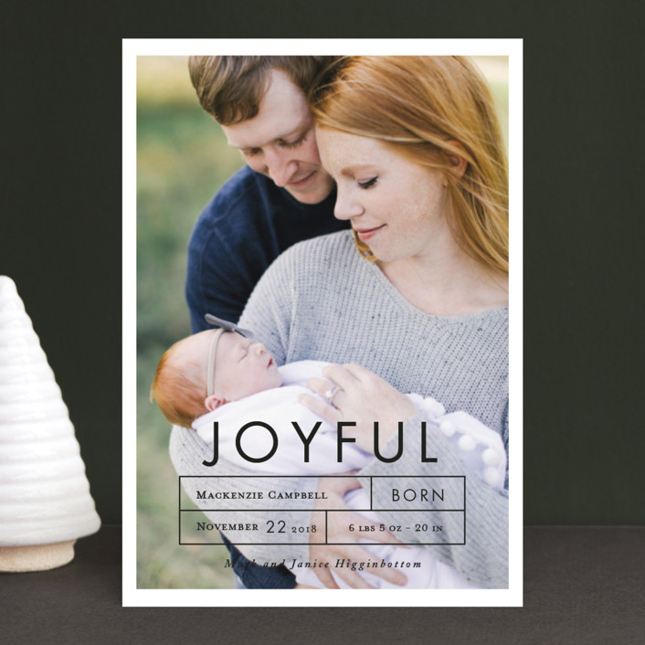 """""""More Joy"""" - Holiday Birth Announcement Postcards in Midnight by That Girl Press."""