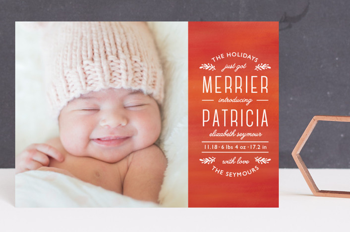 """""""Perfect Harmony"""" - Holiday Birth Announcement Postcards in Candy Cane by Mansi."""