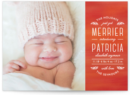 Perfect Harmony Holiday Birth Announcement Postcards