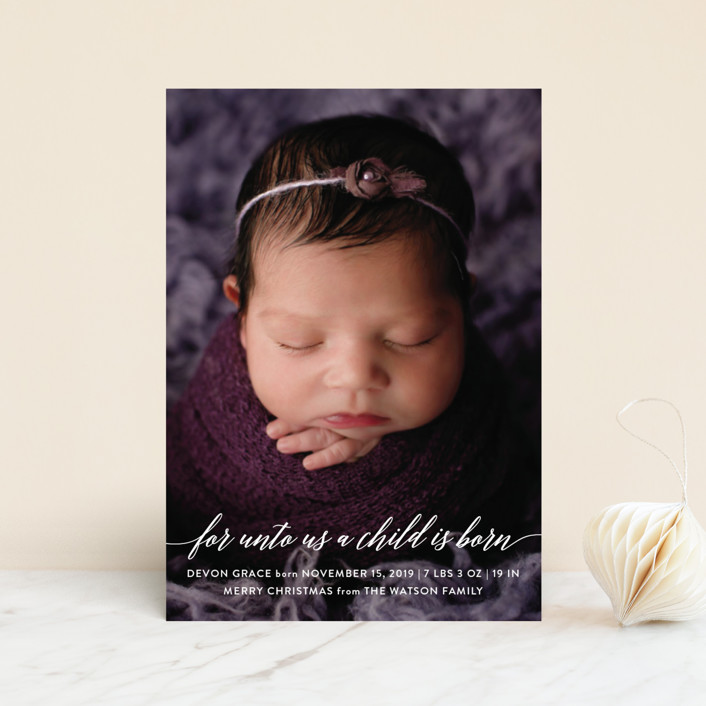 """Child is Born"" - Holiday Birth Announcement Postcards in Clear by Nicole Barreto."