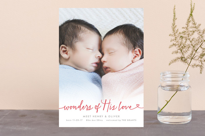 """Wondrous Love"" - Full-Bleed Photo, Simple Holiday Birth Announcement Postcards in Red Berry by Hooray Creative."