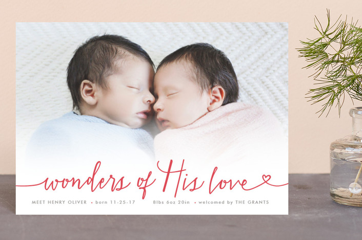 """""""Wondrous Love"""" - Bohemian Holiday Birth Announcement Postcards in Red Berry by Hooray Creative."""
