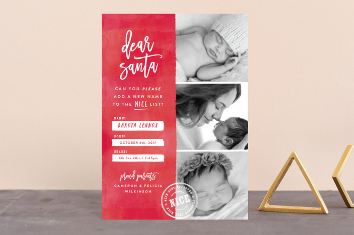 """""""New Name on the List"""" - Funny Holiday Birth Announcement Postcards in Candy Cane by Hooray Creative."""
