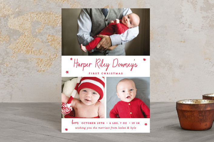 """Baby's First Christmas"" - Holiday Birth Announcement Postcards in christmas classic by Sara Hicks Malone."
