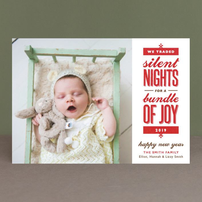 """Silent-less Nights"" - Vintage, Funny Holiday Birth Announcement Postcards in Fire Engine by Carolyn MacLaren."